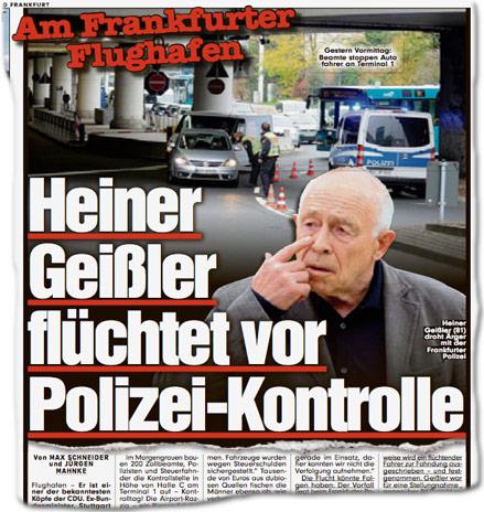 Am Frankfurter Flughafen: Heiner Geißler flüchtet vor Polizei-Kontrolle