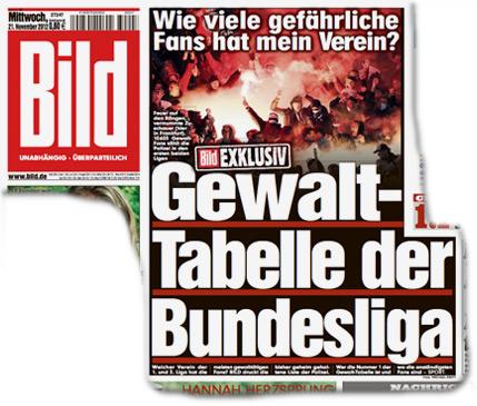 Wie viele gefährliche Fans hat mein Verein? Bild-Exklusiv: Gewalt-Tabelle der Bundesliga.