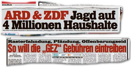 ARD & ZDF Jagd auf 4 Millionen Haushalte. Rasterfahndung, Pfändung, Offenbarungseid So will die 'GEZ' Gebühren eintreiben