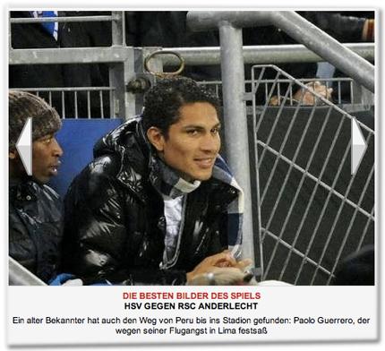 Ein alter Bekannter hat auch den Weg von Peru bis ins Stadion gefunden: Paolo Guerrero, der wegen seiner Flugangst in Lima festsaß.