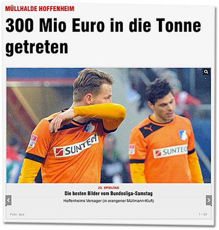 MÜLLHALDE HOFFENHEIM: 300 Mio Euro in die Tonne getreten. Die besten Bilder vom Bundesliga-Samstag: Hoffenheims Versager (in orangener Müllmann-Kluft)