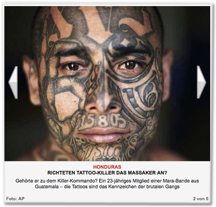 Honduras: Richten Tattoo-Killer das Massaker an? Gehörte er zu dem Killer-Kommando? Ein 23-jähriges Mitglied einer Mara-Bande aus Guatemala – die Tattoos sind das Kennzeichen der brutalen Gangs