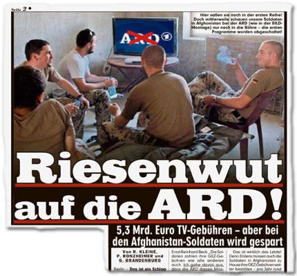Riesenwut auf die ARD! 5,3 Mrd. Euro Gebühren – aber bei den Afghanistan-Soldaten wird gespart