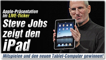 Apple-Präsentation im LIVE-Ticker: Steve Jobs zeigt den iPad - Mitspielen und den neuen Tablet-Computer gewinnen!