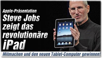 Apple-Präsentation: Steve Jobs zeigt das revolutionäre iPad - Mitspielen und den neuen Tablet-Computer gewinnen!
