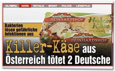 Killer-Käse aus Österreich tötet zwei Deutsche