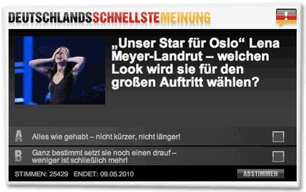 """""""Unser Star für Oslo"""" Lena Meyer-Landrut – welchen Look wird sie für den großen Auftritt wählen? A. Alles wie gehabt – nicht kürzer, nicht länger! B. Ganz bestimmt setzt sie noch einen drauf – weniger ist schließlich mehr!"""