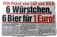 WM-Paket von Lidl und BILD: 6 Würstchen, 6 Bier für 1 Euro