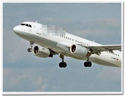 Lufthansa-Flugzeug, mittelmäßig anonymisiert.