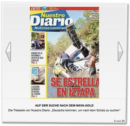 """Die Titelseite von Nuestro Diario: """"Deutsche kommen, um nach dem Schatz zu suchen"""""""