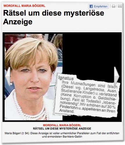 Mordfall Maria Bögerl: Rätsel um diese mysteriöse Anzeige