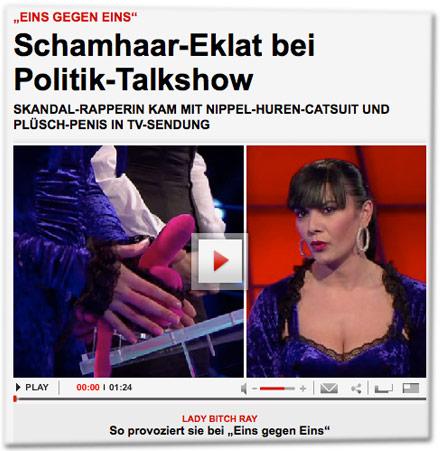 """""""Eins gegen Eins"""": Schamhaar-Eklat bei Politik-Talkshow. Skandal-Rapperin kam mit Nippel-Huren-Catsuit und Plüsch-Penis in TV-Sendung"""