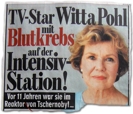 TV-Star Witta Pohl mit Blutkrebs auf der Intensiv-Station! Vor 11 Jahren war sie im Reaktor von Tschernobyl...
