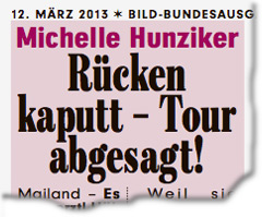 Michelle Hunziker: Rücken kaputt - Tour abgesagt!