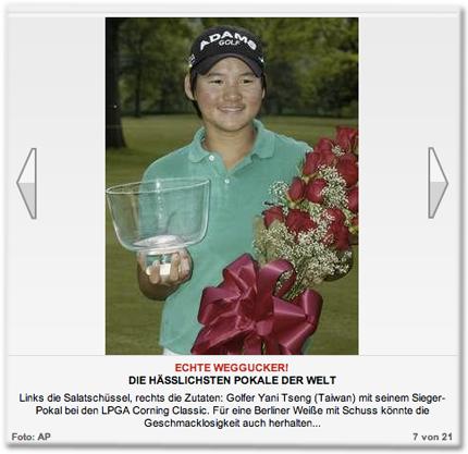 Links die Salatschüssel, rechts die Zutaten: Golfer Yani Tseng (Taiwan) mit seinem Sieger-Pokal bei den LPGA Corning Classic. Für eine Berliner Weiße mit Schuss könnte die Geschmacklosigkeit auch herhalten...