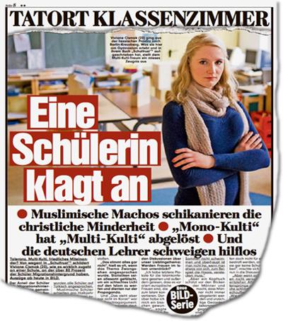 """Tatort Klassenzimmer: Eine Schülerin klagt an. Muslimische Machos schikanieren die christliche Minderheit. """"Mono-Kulti"""" hat """"Multi-Kulti"""" abgelöst. Und die deutschen Lehrer schweigen hilflos."""