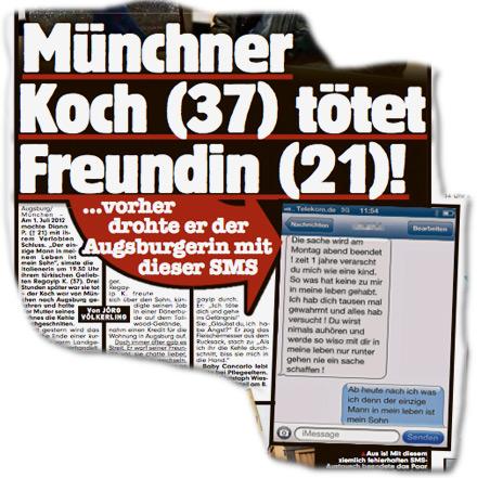 Münchner Koch tötet Freundin ...vorher drohte er der Augsburgerin mit dieser SMS