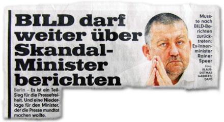 BILD darf weiter über Skandal-Minister berichten. Berlin – Es ist ein Teil-Sieg für die Pressefreiheit. Und eine Niederlage für den Minister, der die Presse mundtot machen wollte.