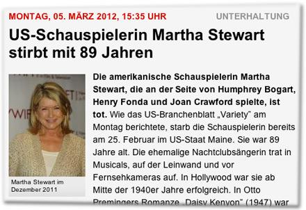 US-Schauspielerin Martha Stewart stirbt mit 89 Jahren. Martha Stewart im Dezember 2011