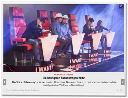 """""""The Voice of Germany"""" – Xavier Naidoo, Boss Hoss, Nena und Rea (v.l.n.r.) sind extrem beliebt und die meist gesuchte TV-Show in Deutschland"""
