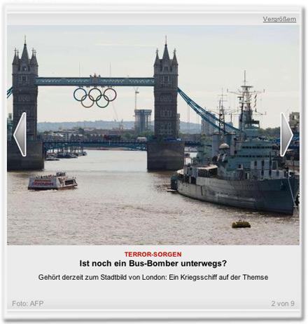 Gehört derzeit zum Stadtbild von London: Ein Kriegsschiff auf der Themse.