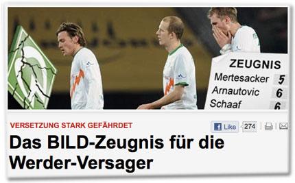 Versetzung stark gefährdet: Das BILD-Zeugnis für die Werder-Versager