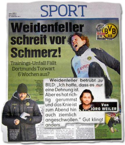 """Weidenfeller-Schock! Fällt Dortmunds Torwart wochenlang aus? Weidenfeller betrübt zu BILD: """"Ich hoffe, dass es nur eine Dehnung ist. Aber es hat richtig gerummst und das Knie ist zum Abend hin auch ziemlich angeschwollen. Ich habe Schmerzen."""""""
