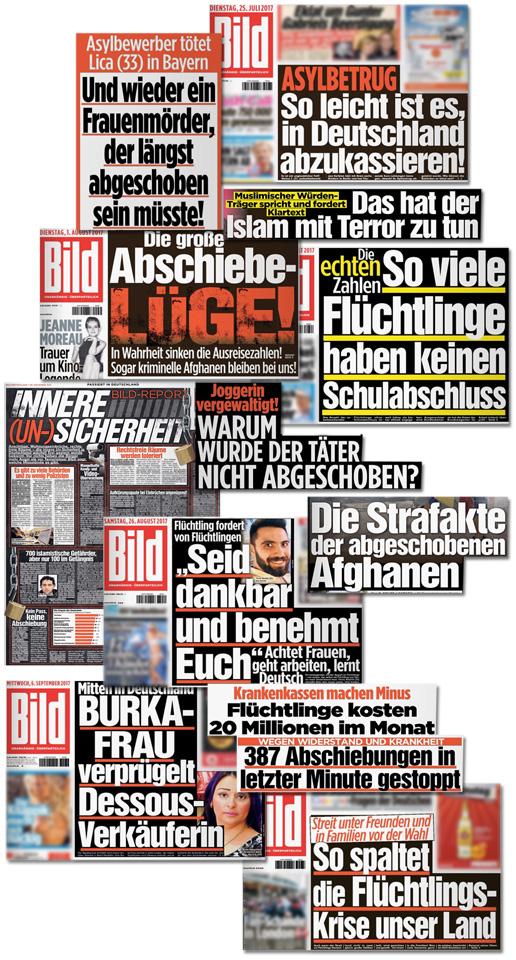 Collage mit Bild-Schlagzeilen - Mitten in Deutschland Burka-Frau verprügelt Dessous-Verkäuferin - Krankenkassen machen Minus Flüchtlinge kosten 20 Millionen im Monat - Asylbetrug So leicht ist es in Deutschland abzukassieren - Die große Abschiebe-Lüge - 387 Abschiebungen in letzter Minute gestoppt - Das hat der Islam mit Terror zu tun - So viele Flüchtlinge haben keinen Schulabschluss - Und wieder ein Frauenmörder der längst abgeschoben sein müsste - Joggerin vergewaltigt Warum wurde der Täter nicht abgeschoben? - Die Strafakte der abgeschobenen Afghanen - So spaltet die Flüchtlingskrise unser Land