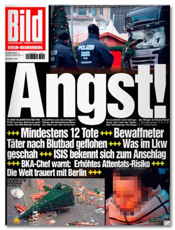 Ausriss der Bild-Titelseite vom 21. Dezember 2016 - In riesigen Buchstaben Angst - Mindestens 12 Tote - Bewaffneter Täter nach Blutbad geflohen - Was im LKW geschah - ISIS bekennt sich zum Anschlag - BKA-Chef warnt: Erhöhtes Attentats-Risiko - Die Welt trauert mit Berlin