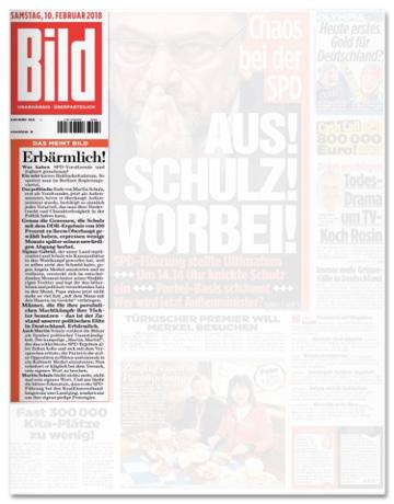 Ausriss Bild-Zeitung - Übersicht über die Titelseite