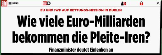 Screenshot Bild.de - EU und IWF auf Rettungs-Mission in Dublin - Wie viele Euro-Milliarden bekommen die Pleite-Iren? Finanzminister deutet Einlenken an