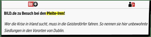 Screenshot Bild.de - Bild.de zu Besuch bei den Pleite-Iren! Wer die Krise in Irland sucht, muss in die Geisterdörfer fahren. So nennen sie hier unbewohnte Siedlungen in den Vororten von Dublin.