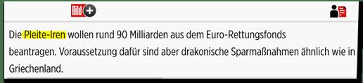 Screenshot Bild.de - Die Pleite-Iren wollen rund 90 Milliarden aus dem Euro-Rettungsfonds beantragen. Voraussetzung dafür sind aber drakonische Sparmaßnahmen ähnlich wie in Griechenland.