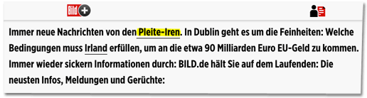 Screenshot Bild.de - Immer neue Nachrichten von den Pleite-Iren. In Dublin geht es um die Feinheiten: Welche Bedingungen muss Irland erfüllen, um an die etwa 90 Milliarden Euro EU-Geld zu kommen.