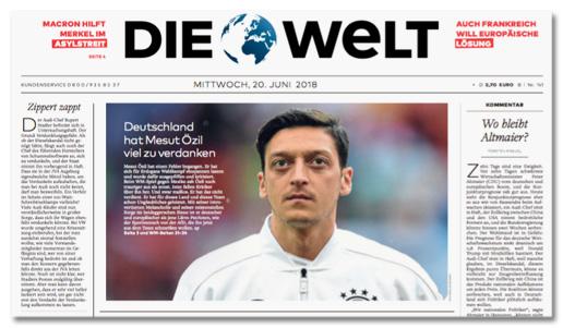 Ausriss Welt-Titelseite - Deutschland hat Mesut Özil viel zu verdanken