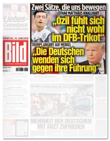 Ausriss Bild-Titelseite - Zwei Sätze, die uns bewegen - Lothar Matthäus knallhart: Özil fühlt sich nicht wohl im DFB-Trikot