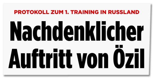 Screenshot Bild.de - Protokoll zum ersten Training in Russland - Nachdenklicher Auftritt von Özil