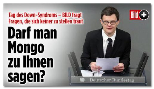 Screenshot Bild.de - Tag des Down-Syndroms - Bild fragt Fragen, die sich keiner zu stellen traut - Darf man Mongo zu Ihnen sagen