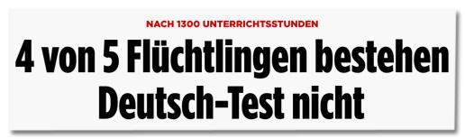 Screenshot Bild.de - Nach 1300 Unterrichtsstunden - 4 von 5 Flüchtlingen bestehen Deutschtest nicht
