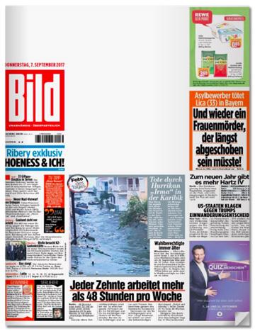 Ausriss Bild-E-Paper-Titelseite vom 7. September - Oben rechts neben dem Bild-Logo prangt eine große weiße Fläche ohne Überschrift, ohne Artikel, ohne Foto
