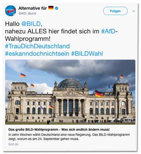Tweet der AfD Bund - Hallo Bild, nahezu alles hier findet sich im AfD-Wahlprogramm