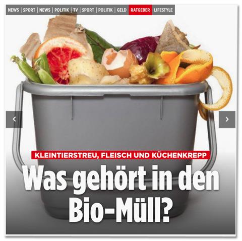 Screenshot Bild.de - Kleintierstreu, Fleisch und Küchenkrepp - Was gehört in den Bio-Müll?