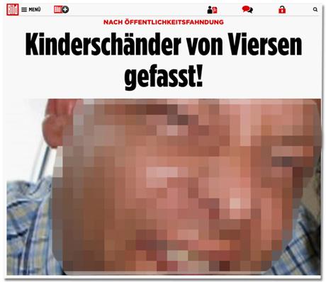 Screenshot eines Bild.de-Artikels - Zu sehen ist die Überschrift Kinderschänder von Viersen gefasst und direkt darunter das Gesicht des Tatverdächtigen in Großaufnahme