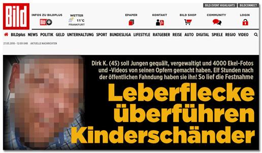 Screenshot Bild.de-Startseite - Leberflecke überführen Kinderschänder - mit unverpixeltem Foto des Verdächtigen