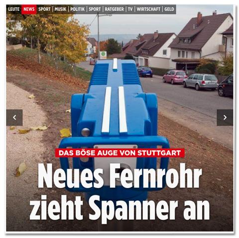 Screenshot der Bild.de-Startseite - Das Böse Auge von Stuttgart - Neues Fernrohr zieht Spanner an