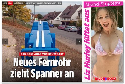 Screenshot Bild.de - Erneut die Schlagzeile Das Böse Auge von Stuttgart - Neues Fernrohr zieht Spanner an, daneben eine andere Geschichte: Strand-Striptease - Liz Hurley lüftet aus - dazu ein Foto von Liz Hurley in Bikini