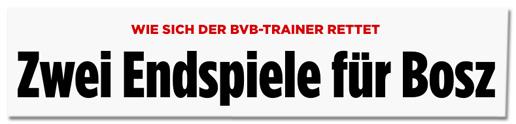 Screenshot Bild.de - Wie sich der BVB-Trainer rettet - Zwei Endspiele für Bosz