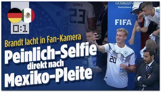 Screenshot Bild.de - Brandt lacht in Fan-Kamera - Peinlich-Selfie direkt nach Mexiko-Pleite