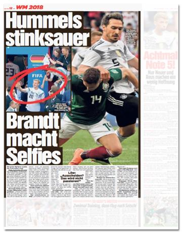 Ausriss Bild-Zeitung - Hummels stinksauer, Brandt macht Selfies