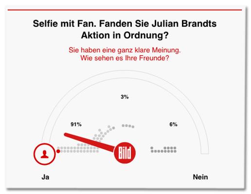 Screenshot Bild.de - Umfrage: Selfie mit Fan. Fanden Sie Julian Brandts Aktion in Ordnung? Ergebnis: 91 Prozent ja, sechs Prozent nein, drei Prozent unentschlossen